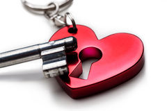 сердце с keylock и ключом стоковое фото