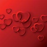 Сердце формирует на красной предпосылке к дню валентинки иллюстрация штока