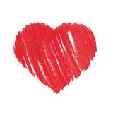 Сердце, халатно покрашенное с краской на бумаге Стоковая Фотография