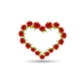 Сердце цветков и листьев гибискуса иллюстрация вектора