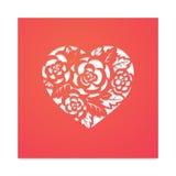 Сердце шаблона с розами для вырезывания лазера Стоковое Фото