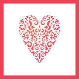 Сердце шаблона с цветками для вырезывания лазера, макулатурным картоном scrapbooking Стоковое Изображение RF