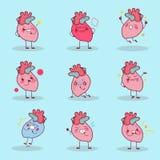 Сердце шаржа делает различную эмоцию Стоковое Изображение