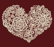 Сердце шнурка вектора винтажное Стоковая Фотография