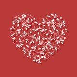 Сердце шнурка на красной предпосылке Валентайн формы влюбленности сердца карточки Стоковая Фотография RF