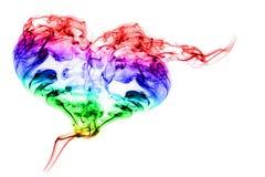 Сердце дыма цвета на белой предпосылке Стоковая Фотография RF