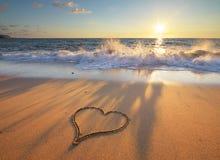 сердце элемента конструкции пляжа романтичное Стоковые Изображения RF