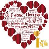 Сердце   Я тебя люблю в языках Стоковая Фотография RF