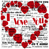 Сердце   Я тебя люблю в языках Стоковое фото RF