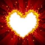 сердце 3 карточек пламенистое Стоковая Фотография RF
