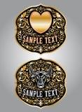 Сердце - Bull - дизайн вектора пряжки пояса ковбоя Стоковое Изображение RF