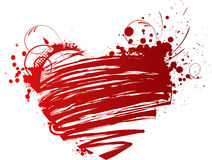Сердце Grunge с флористическими элементами Стоковые Фотографии RF