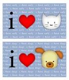 сердце i собак котов Стоковое Фото