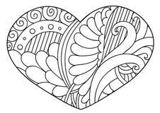 Сердце Zentangle черно-белое декоративное Стоковое Изображение