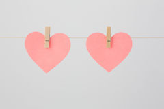 2 Сердц-форменных пустых примечания Стоковые Фотографии RF