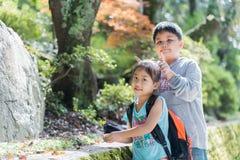Сестра играя с ее братом в парке Стоковые Фотографии RF