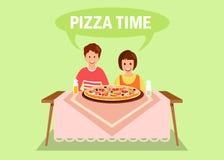 Сестра и брат имея иллюстрацию обедающего плоскую иллюстрация штока