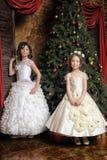 2 сестры в белых платьях вечера Стоковое Изображение RF