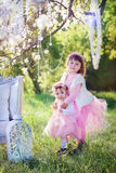 Сестры в парке цветения стоковая фотография