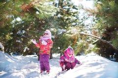 2 сестры в ярких розовых куртках в зиме на фоне покрытых снег деревьев Девушки скачут, играют с снегом Стоковое Фото