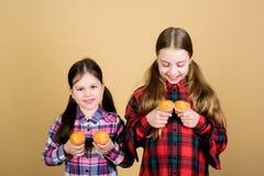Сестры держат испеченные булочки Домодельная еда Питание и калория диеты здоровые Yummy булочки Еда детей девушек милая стоковое фото rf