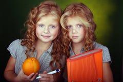 сестры красного цвета портрета волос Стоковые Фотографии RF