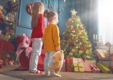 Сестры приближают к рождественской елке Стоковые Фото