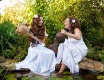 2 сестры с прудом кувшинов Стоковое Фото