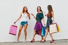 3 сестры с хозяйственными сумками Стоковые Изображения RF