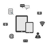 сета, значки связи: комплект вектора интернета Стоковое Изображение RF