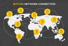 Сетевое подключение монетки бита состоя из денег bitcoin, мира Стоковые Фото