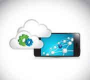 сетевое подключение телефона шестерни облака иллюстрация штока