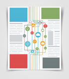 Сетевые подключения рогульки или брошюры дела плана Шаблон сети Стоковое Изображение RF