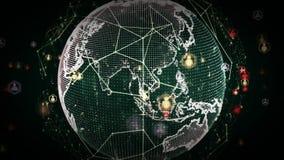 Сети мира цифров зеленого цвета людей иллюстрация вектора