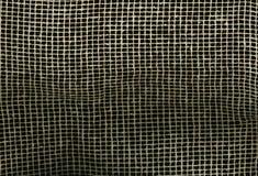 Сетка Брайна холста мешковины ткани Textureof естественная на черной предпосылке предпосылка картины текстуры макроса Стоковая Фотография RF