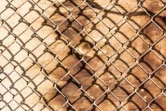 Сетка металла на деревянной предпосылке Стоковое Изображение RF