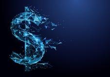 Сетка wireframe значка доллара абстрактного низкого полигона американская на голубой предпосылке иллюстрация штока