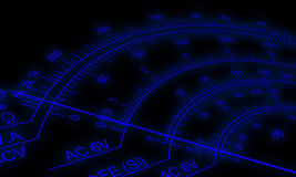 Сетноой-аналогов масштаб вольтамперомметра Стоковое фото RF
