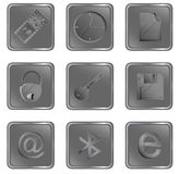сеть вектора установленного квадрата 3 кнопок серая Стоковые Изображения