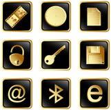 сеть вектора установленного квадрата 3 черная кнопок Стоковое Фото