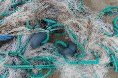 Сеть веревочки и рыб Стоковые Изображения
