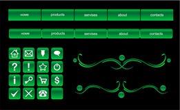 сеть зеленого цвета элементов конструкции кнопок установленная Стоковое Изображение RF