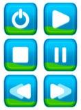 сеть игрока кнопки установленная Стоковое Изображение RF