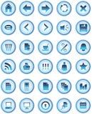 сеть икон голубых кнопок стеклянная Стоковое Изображение RF
