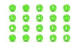 сеть икон зеленого цвета лоска конструкции глянцеватая Стоковые Изображения