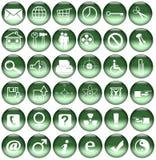 сеть икон кнопок зеленая Стоковые Фото