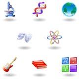 сеть икон образования категории лоснистая Стоковые Изображения RF