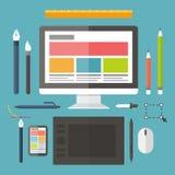 Сеть и графический дизайн, инструменты, таблетка, крася иллюстрация штока