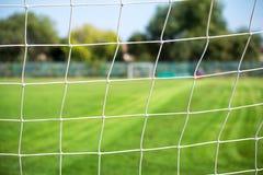 Сеть и поле футбола Стоковое Изображение