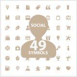 Сеть и социальный комплект символов вектора Стоковая Фотография RF